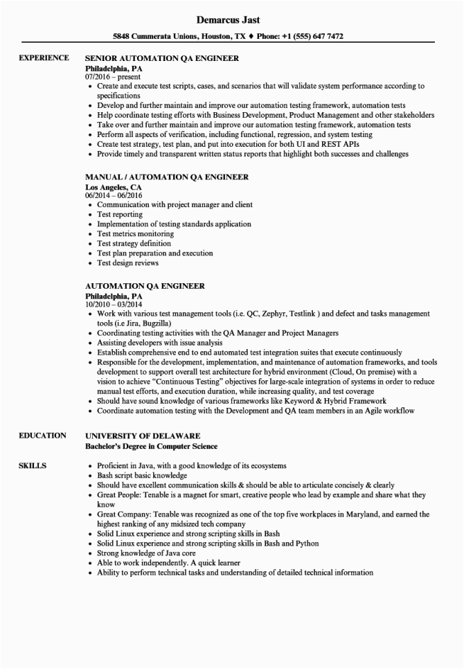 qa automation tester job description