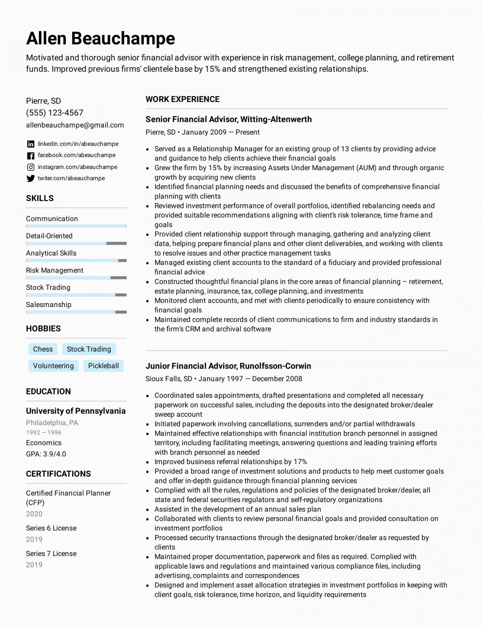 Sample Resume for Financial Advisor Position Financial Advisor Resume Example & Writing Tips for 2021