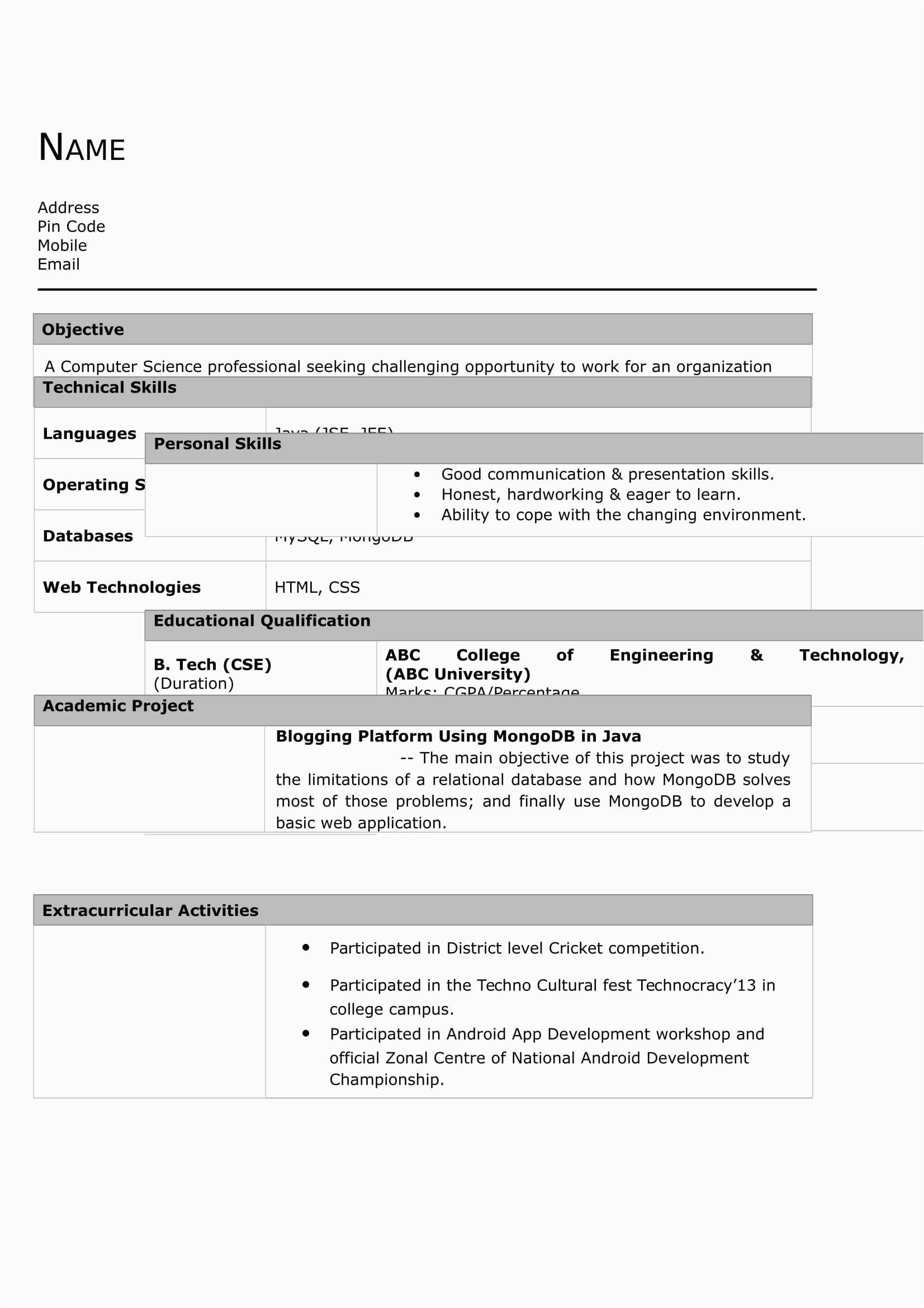 resume for mechanical engineer fresher 25