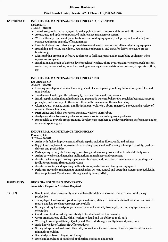 Sample Resume for Industrial Maintenance Technician Industrial Maintenance Technician Resume Samples