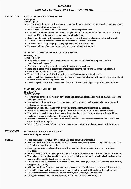 maintenance mechanic resume