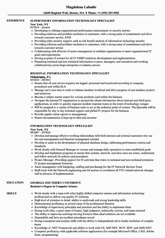 Sample Resume for Information Technology Specialist 8 9 Resumes for Information Technology
