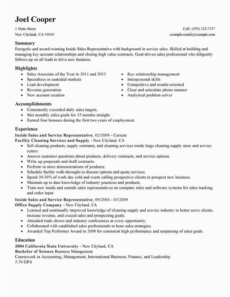 Sample Resume for Inside Sales Position Best Inside Sales Resume Example