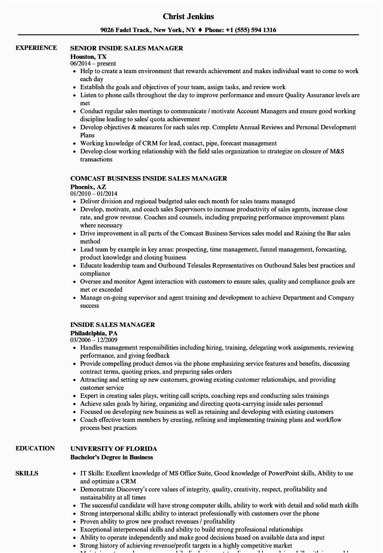 inside sales manager resume sample
