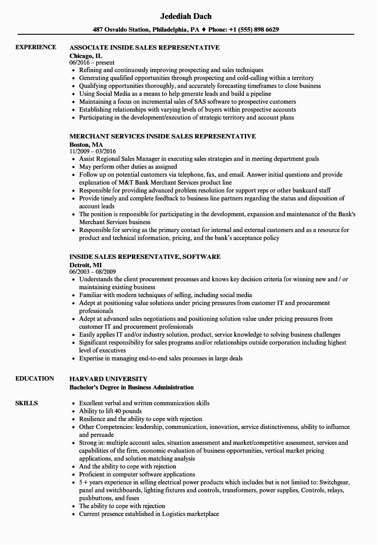 sales representative inside sales resume sample