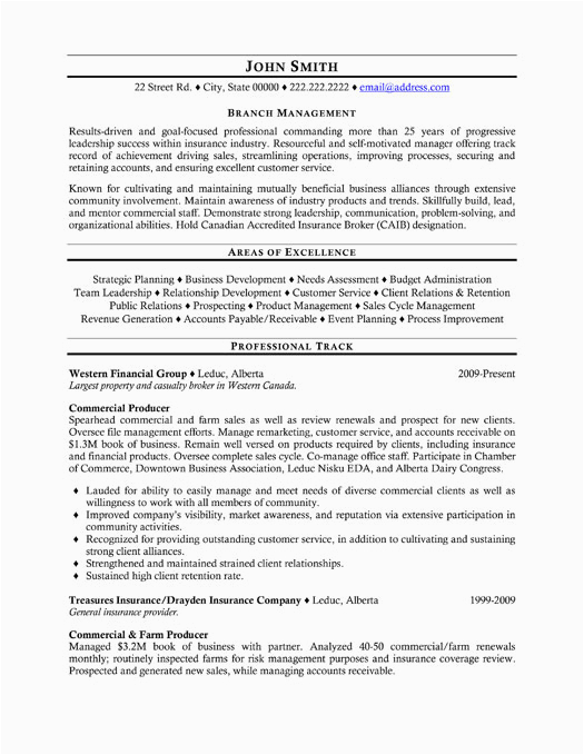Sample Resume for Insurance Branch Manager top Insurance Resume Templates & Samples