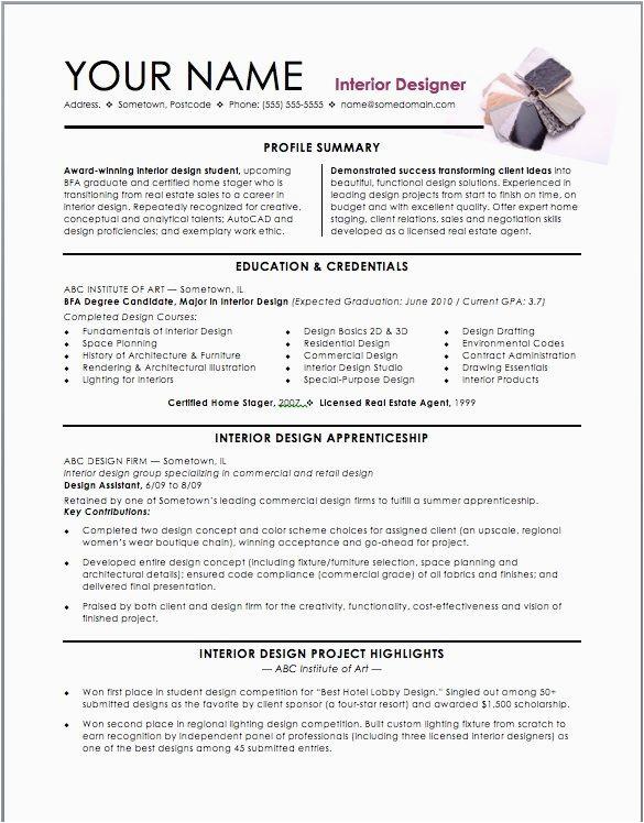 interior design intern resume templates for katie