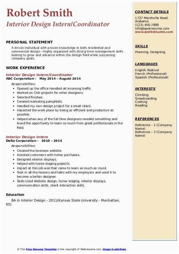 interior design intern