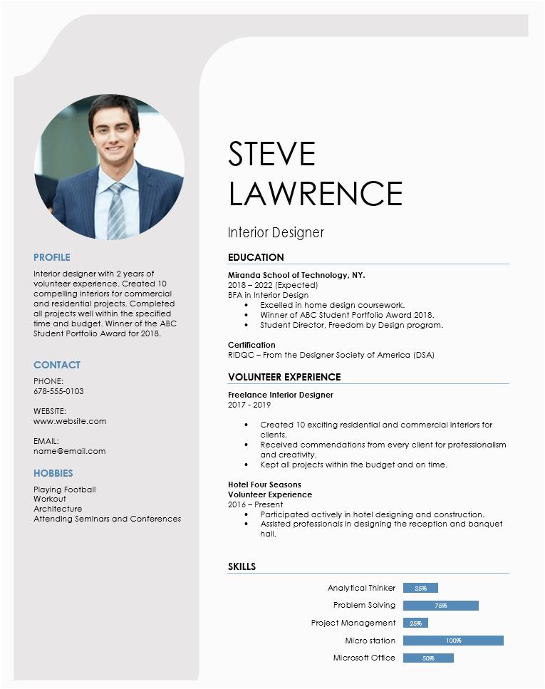 Sample Resume for Interior Designer Fresher Interior Design Resume format for Fresher Best Resume