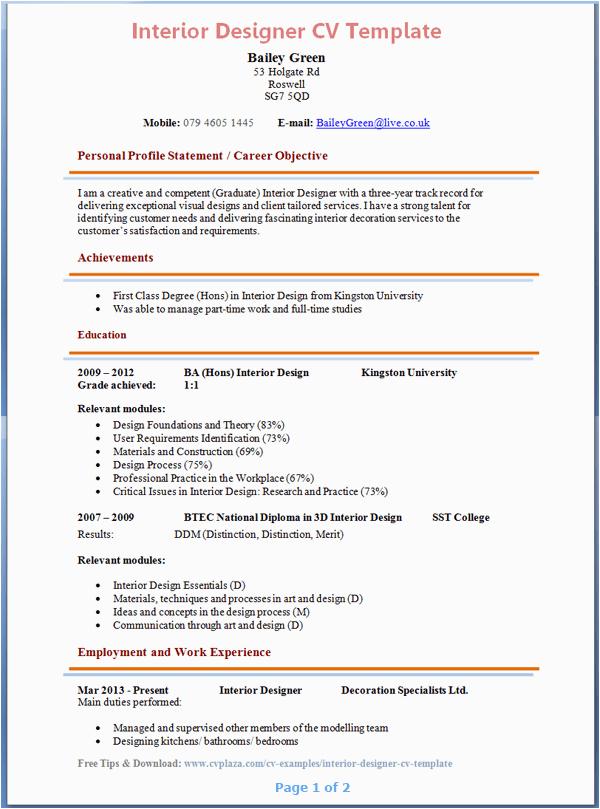 interior design resume format for