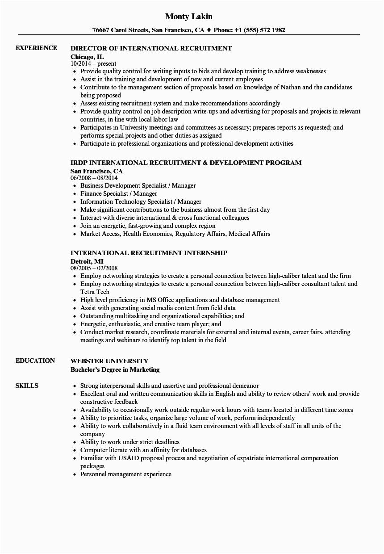 international recruitment resume sample