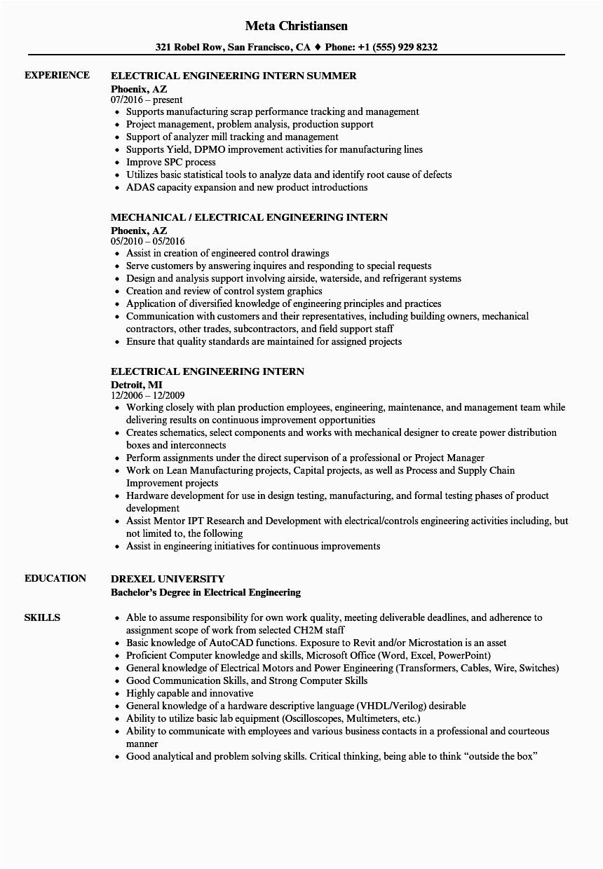 engineering internship resume example