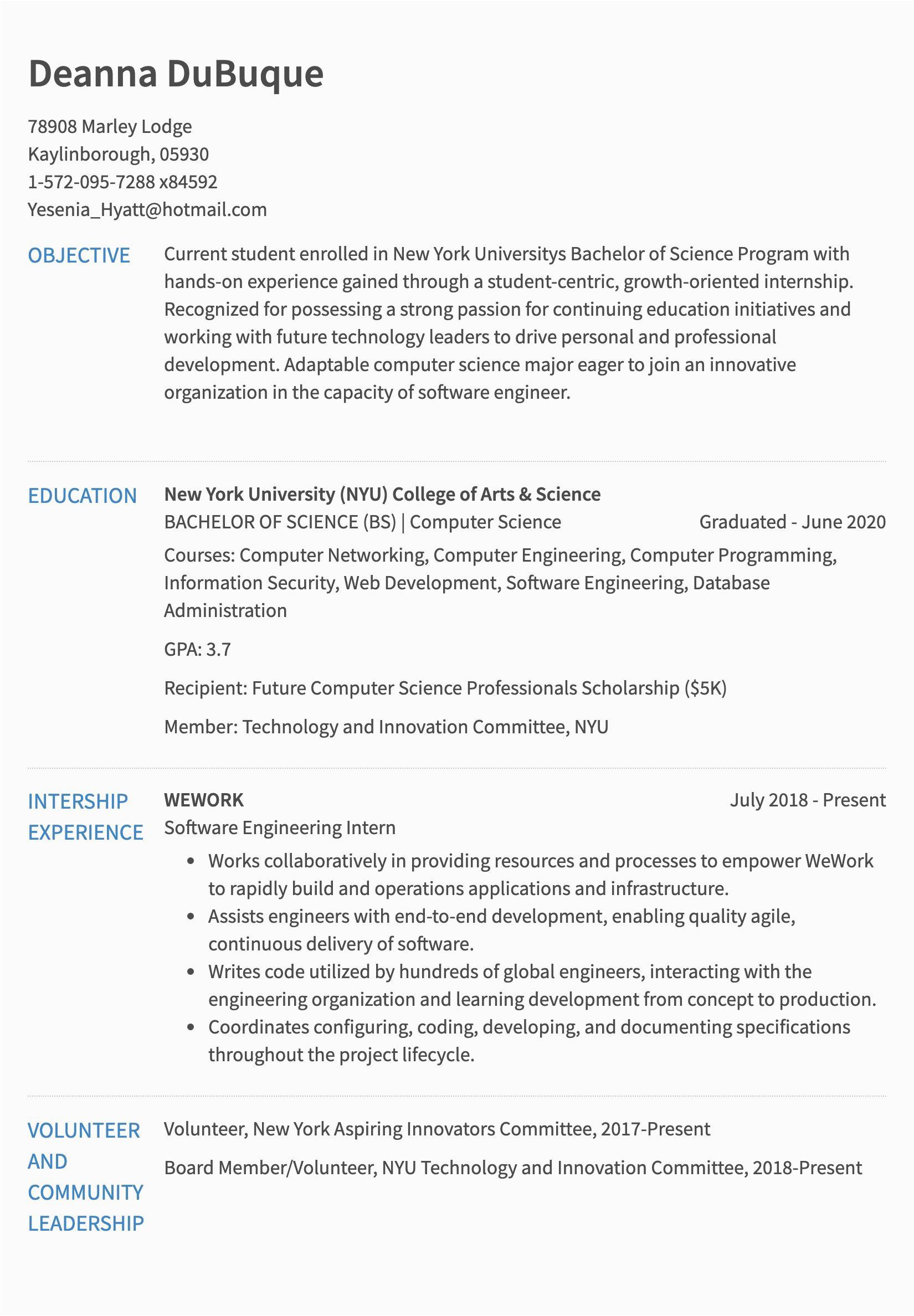 engineering intern resume examples