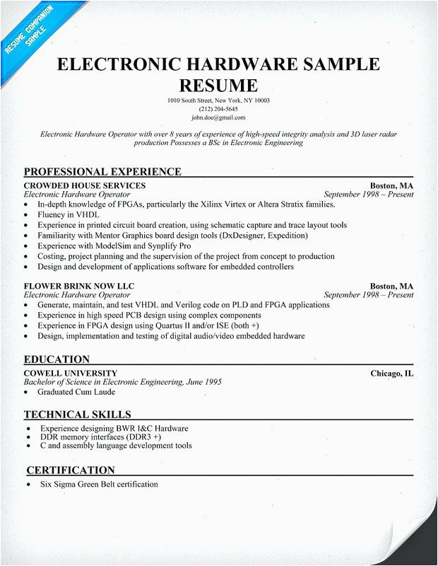 electronics and munication engineering resume samples for