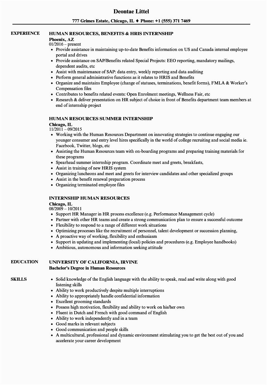 internship human resources resume sample