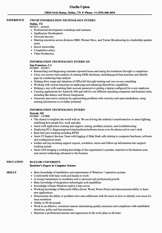 information technology intern resume sample