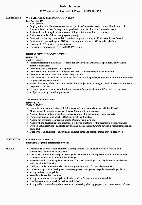 Sample Resume for Internship In Information Technology Sample Resume for Internship In Information Technology