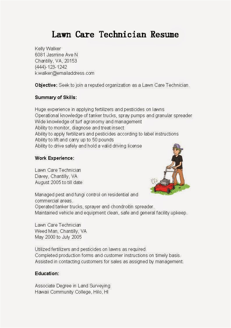 Sample Resume for Lawn Care Worker Resume Samples Lawn Care Technician Resume Sample