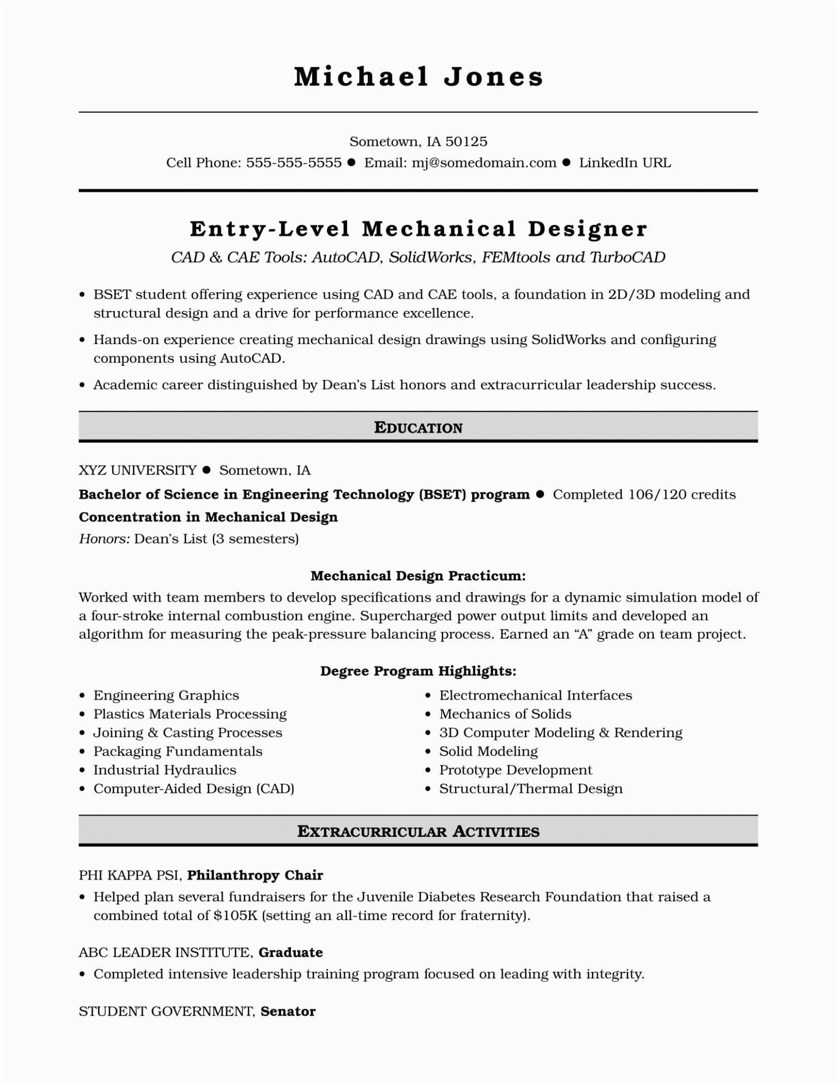 sample cv for fresh graduate mechanical engineer