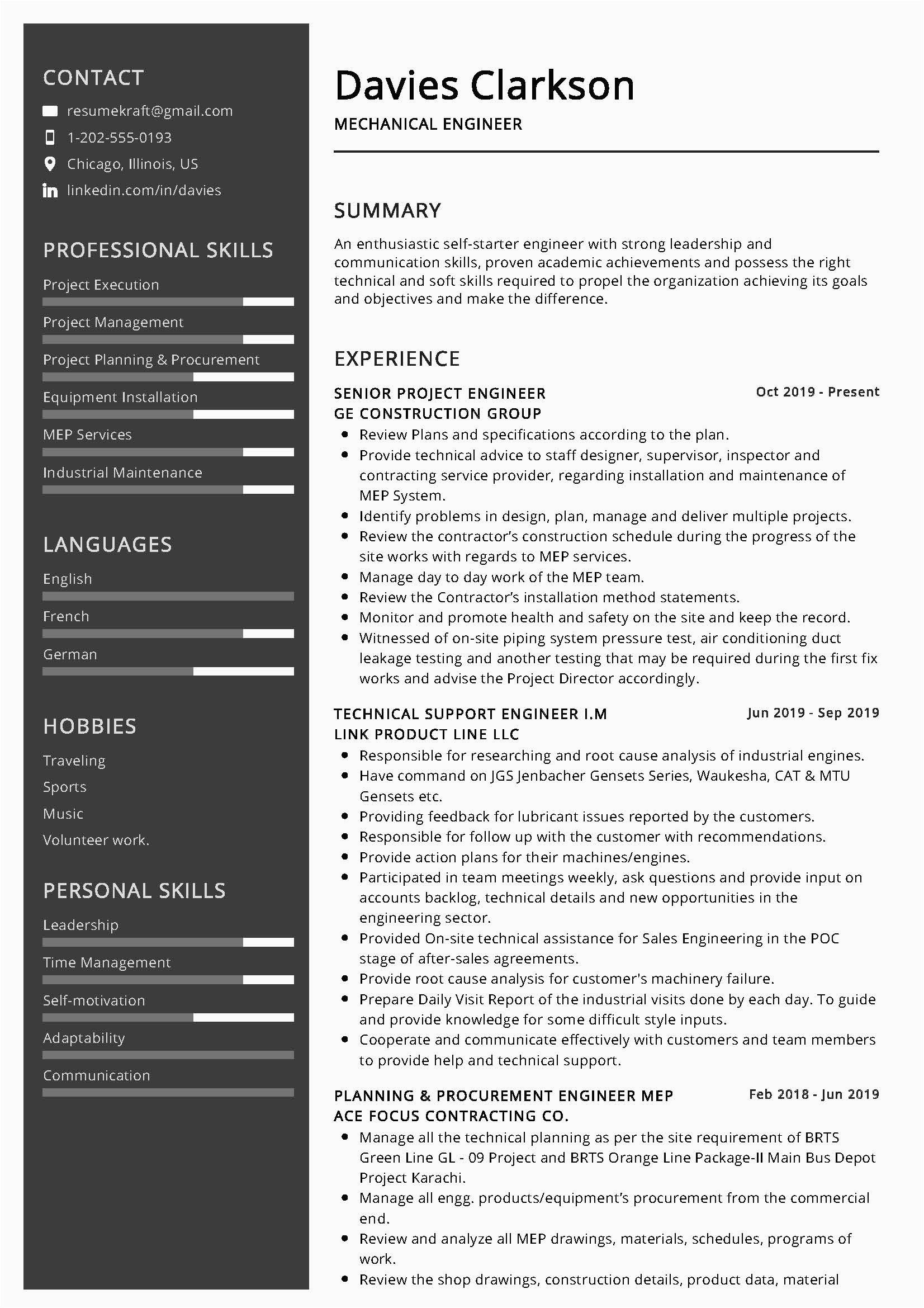 Sample Resume for Mechanical Engineer Professional Mechanical Engineer Resume Sample & Writing Tips 2020