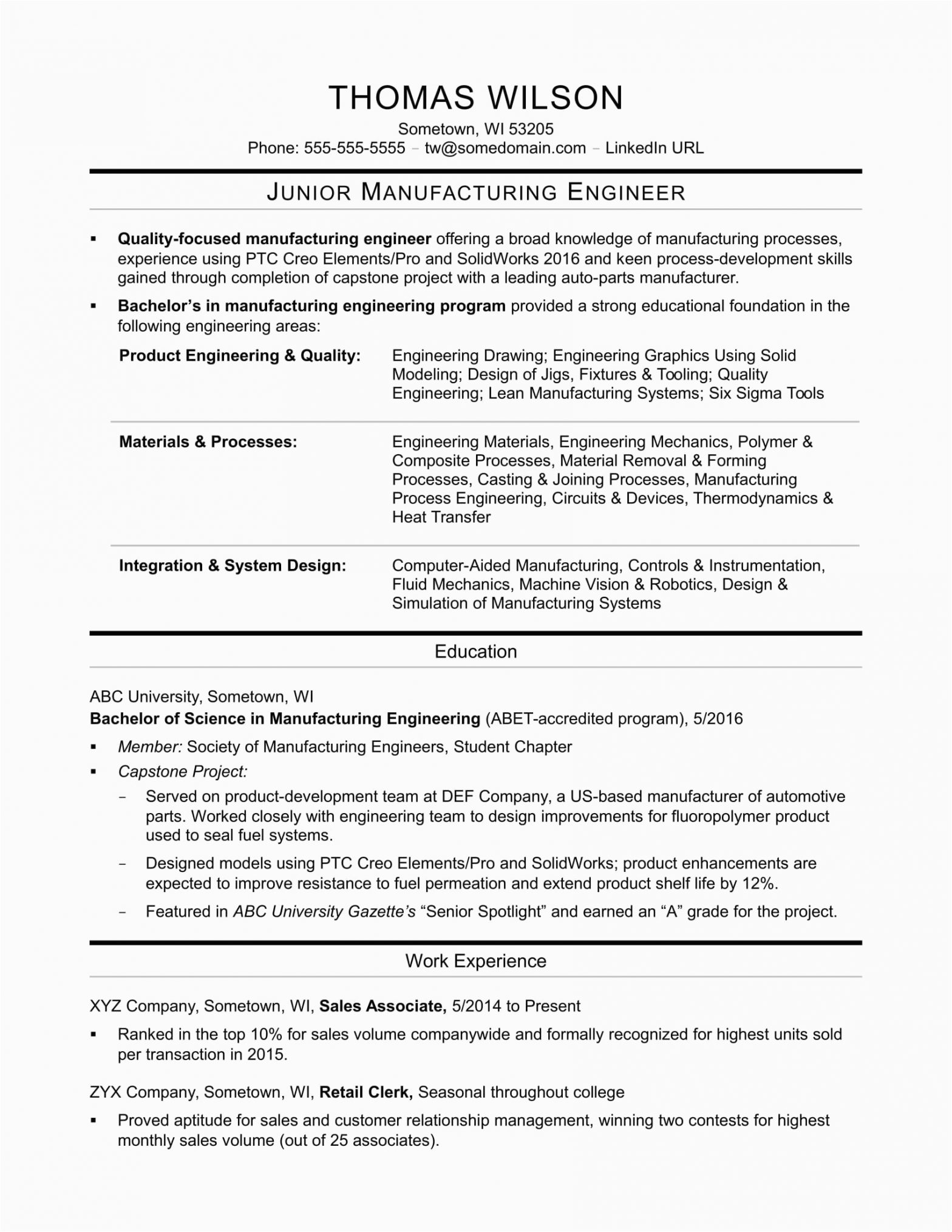 Sample Resume for Mechanical Production Engineer Manufacturing Engineer Resume
