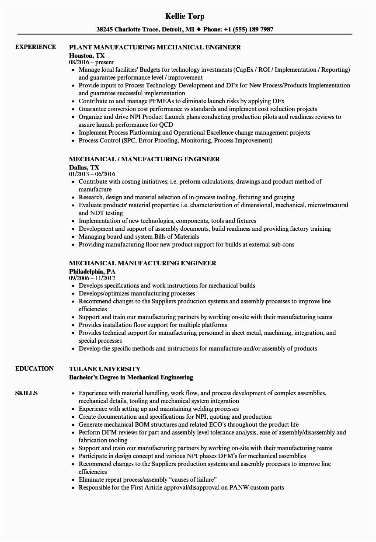 mechanical manufacturing engineer resume sample