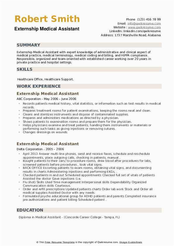 externship medical assistant