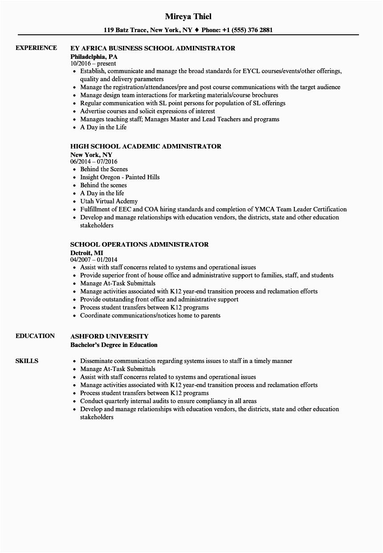 school administrator resume sample