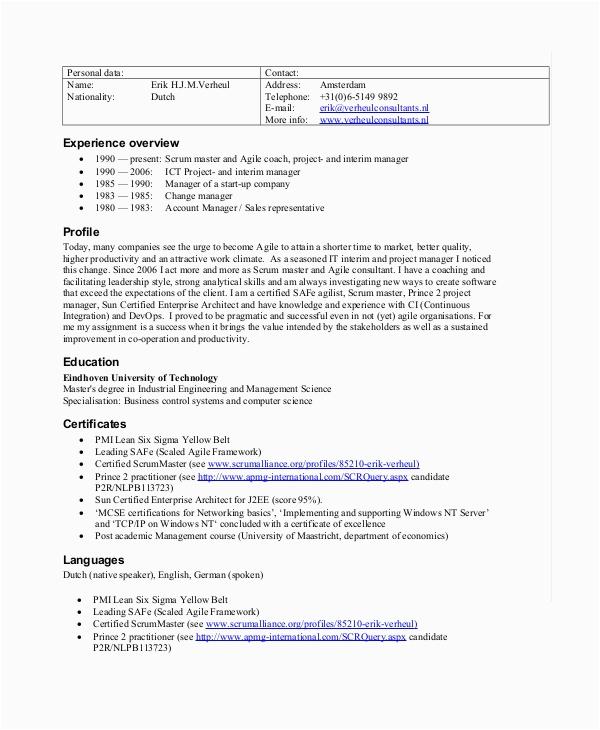 agile scrum master resume
