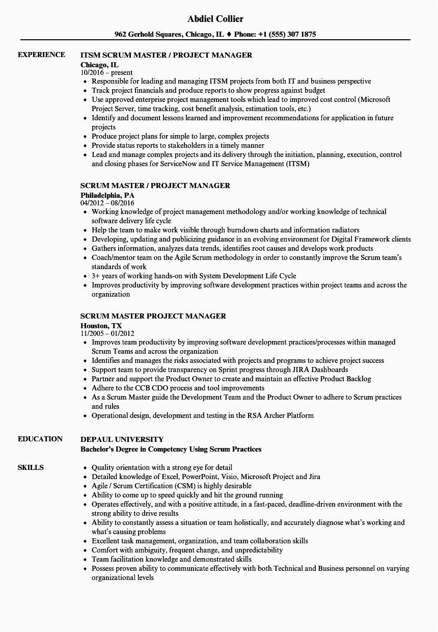 scrum master project manager resume sample