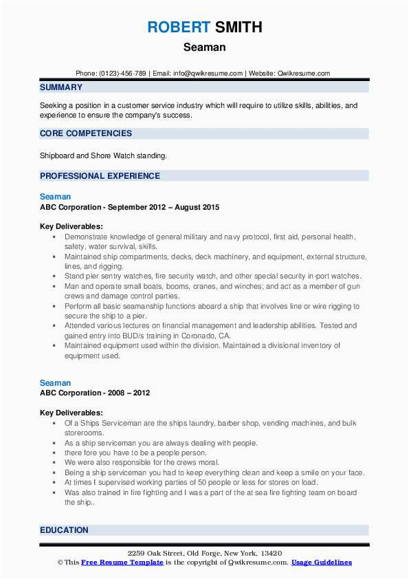 able seaman resume format