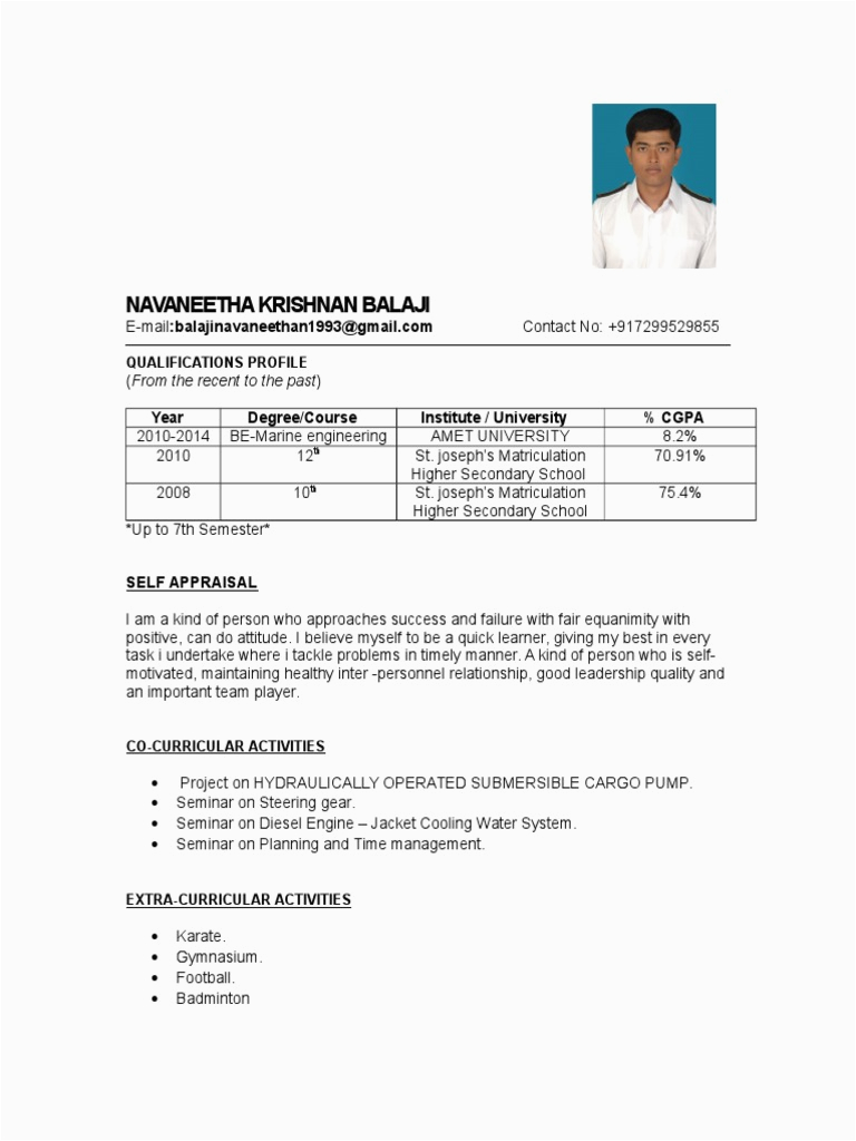 Sample Resume for Seaman Engine Cadet Sample Engine Cadet Resume