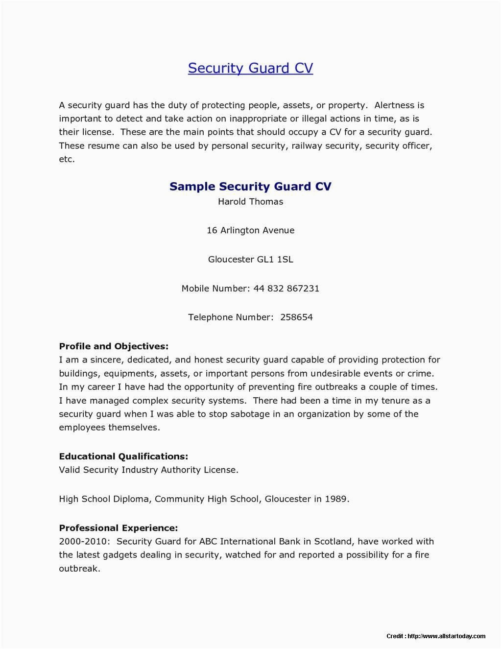 Sample Resume for Security Guard No Experience How Do I Write A Resume for A Security Guard with No