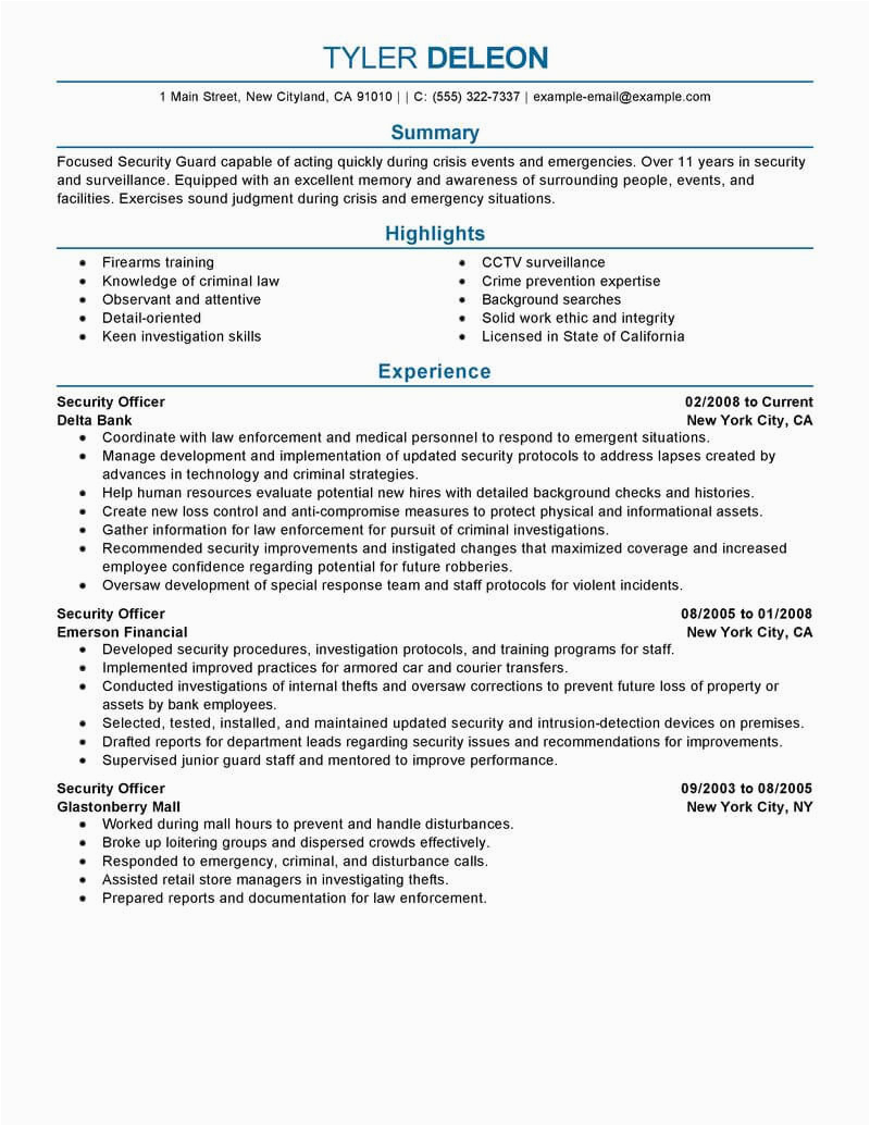 security officer resume example