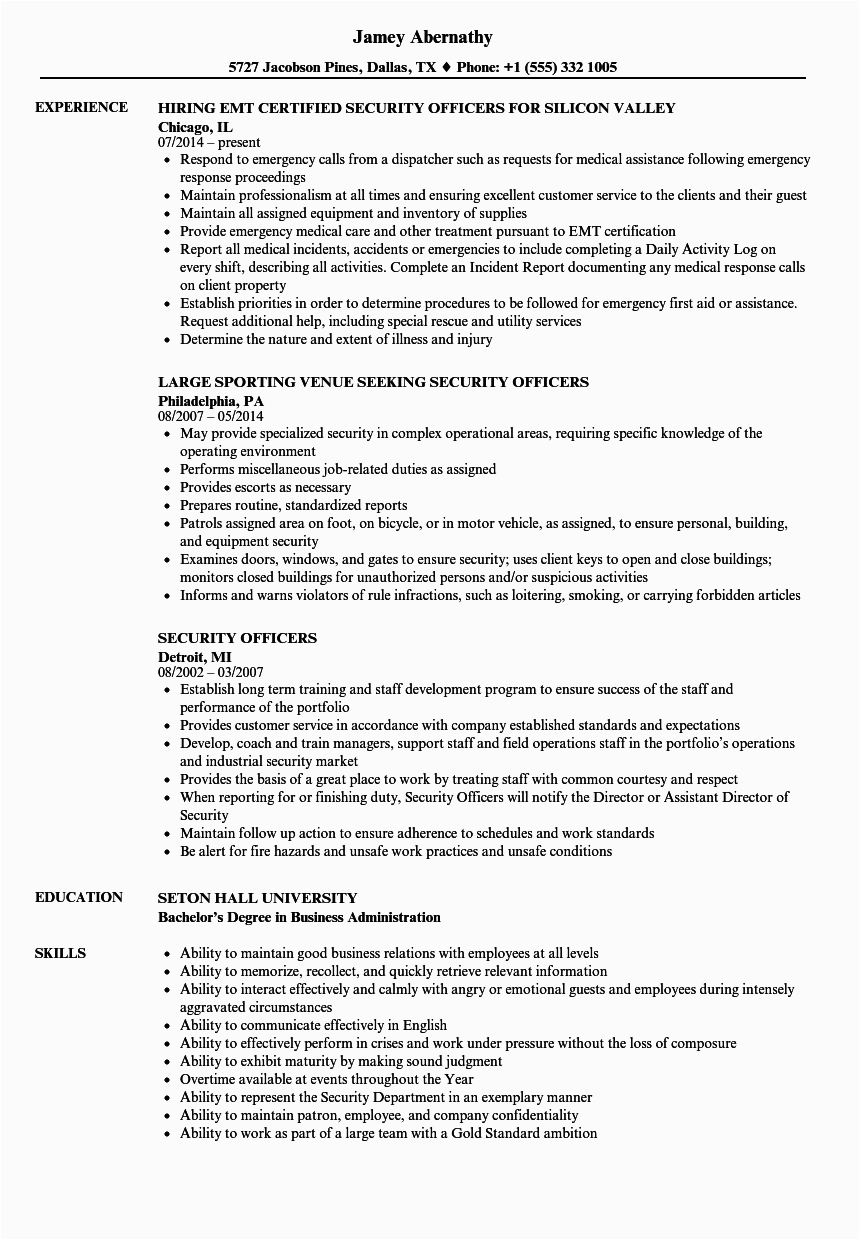 resumes for security guard