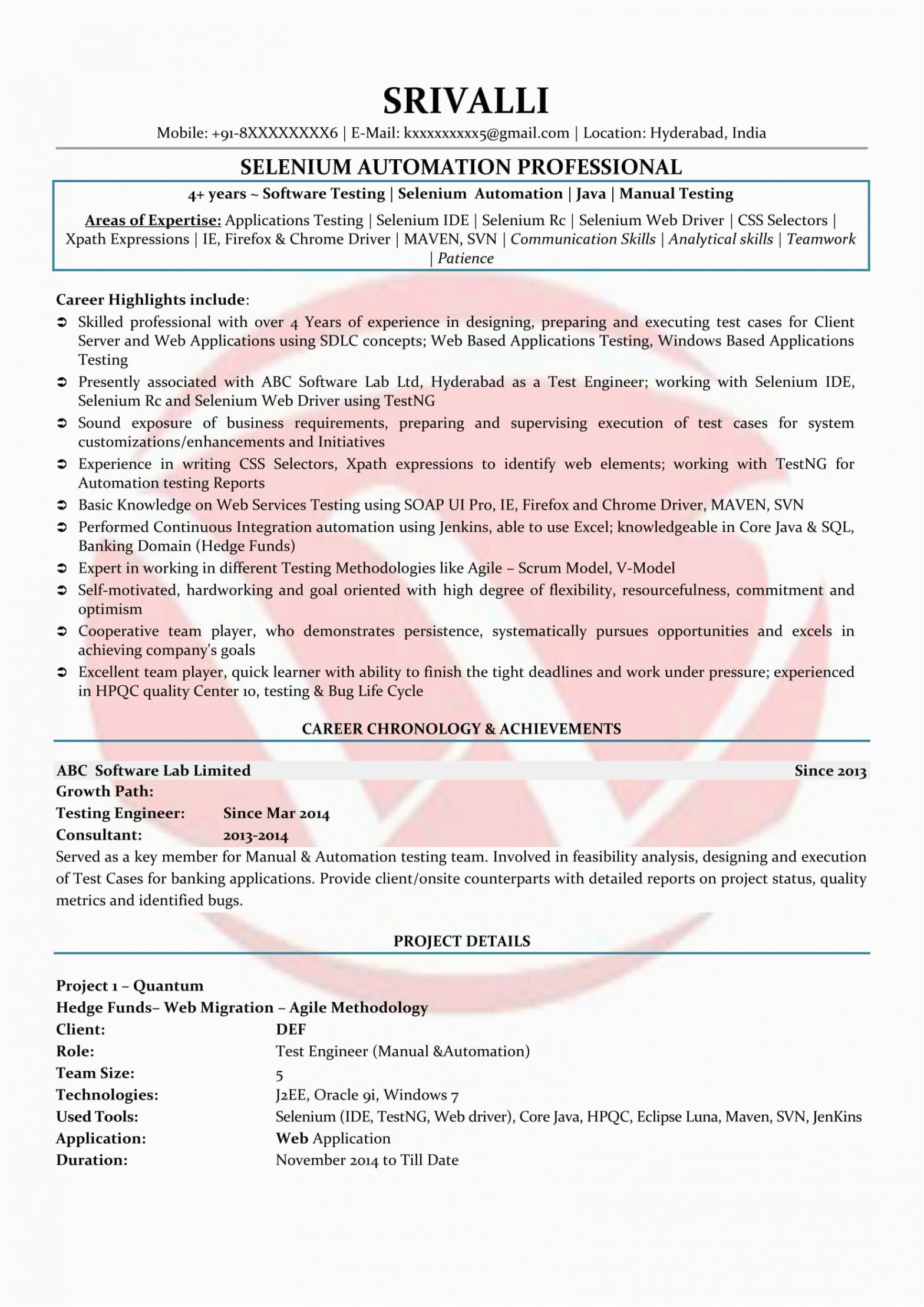Sample Resume for Selenium 1 Year Experience Selenium Sample Resumes Download Resume format Templates