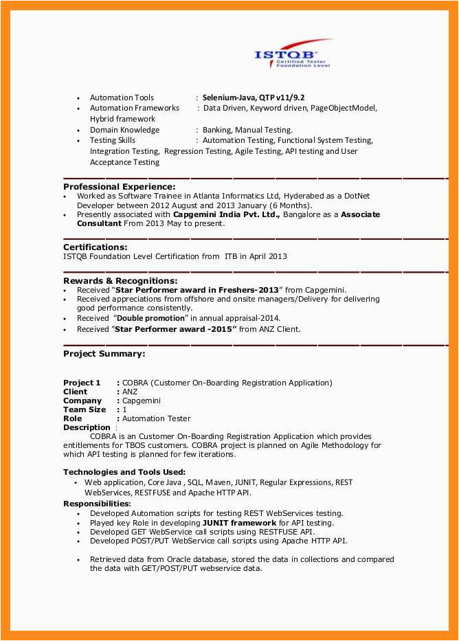 Sample Resume for Selenium Automation Tester 11 12 Selenium Automation Tester Resume