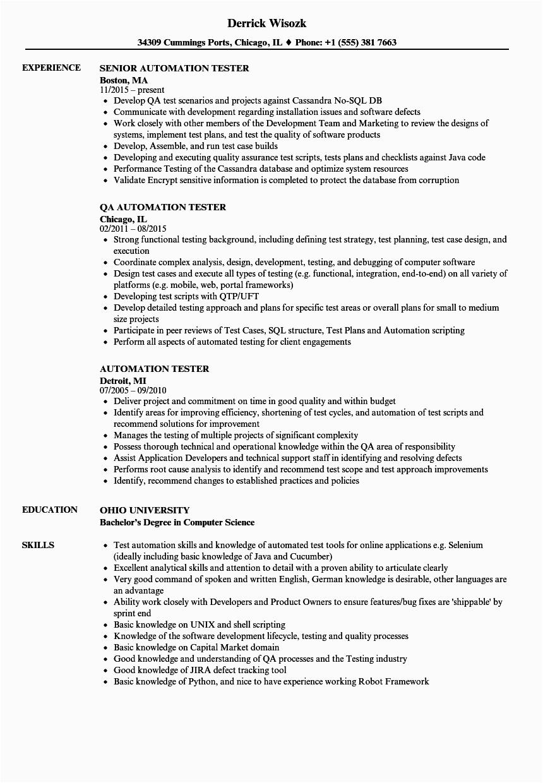 Sample Resume for Selenium Automation Tester Experienced Selenium Automation Tester Resume