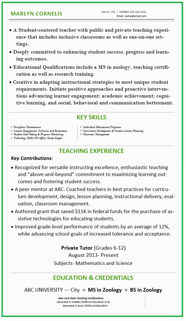 sample resume for teachers without