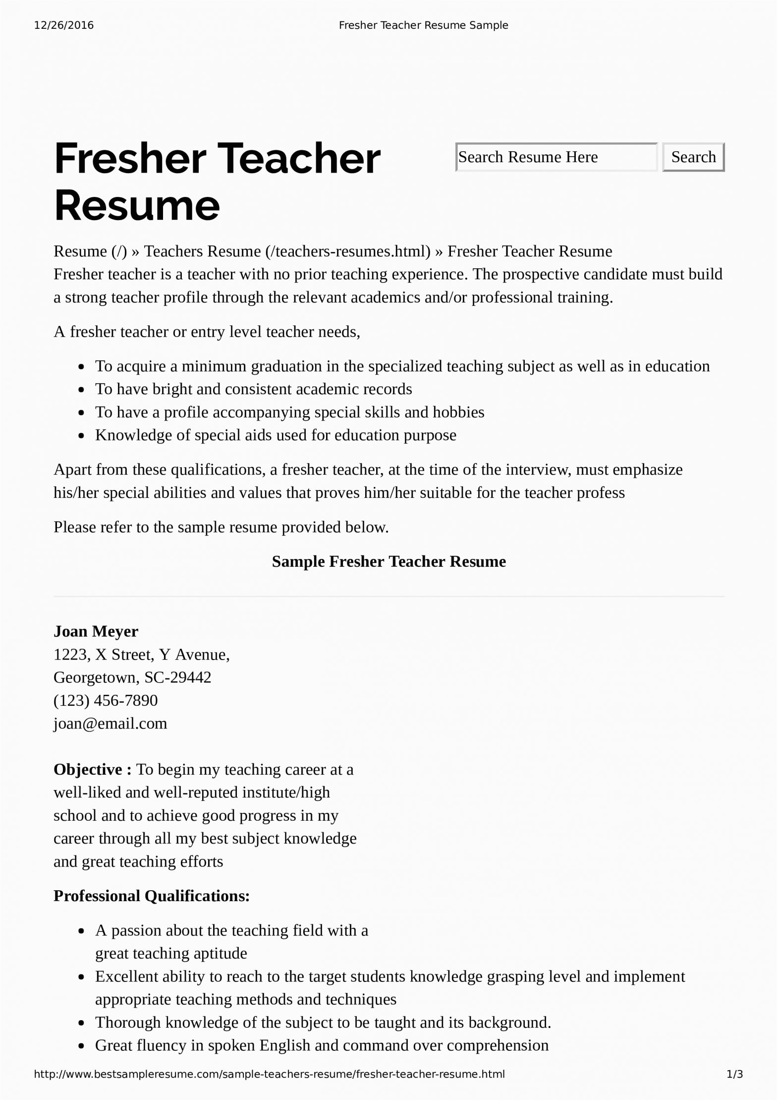 Sample Resume for Teaching Position with No Experience Preschool Teacher Resume with No Experience
