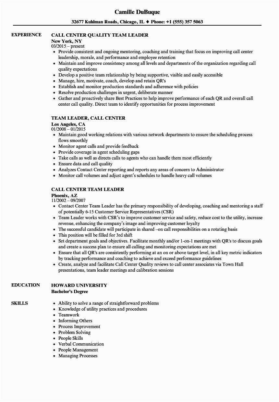Sample Resume for Team Leader In Call Center Call Center Team Leader Resume Samples