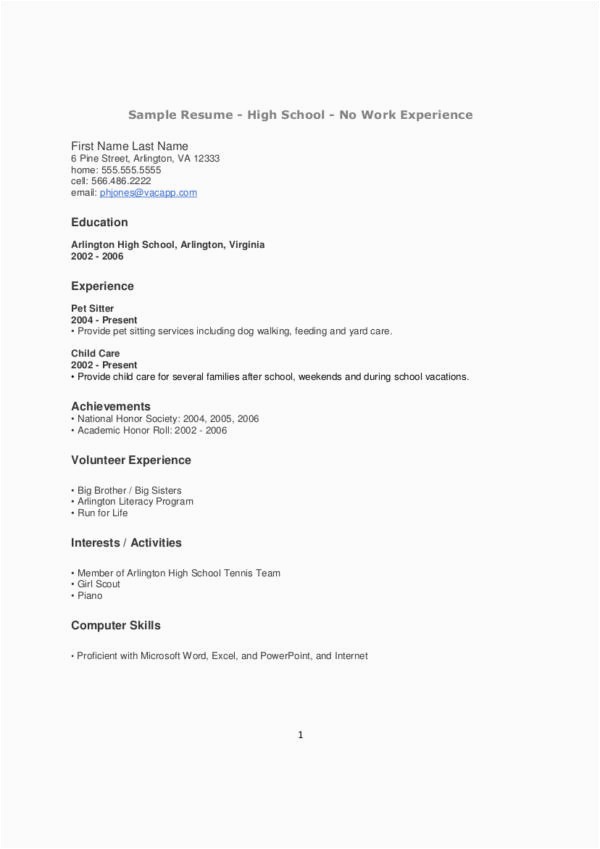 Sample Resume for Teenager with No Experience Free No Experience Here S the Perfect Resume [ Tips
