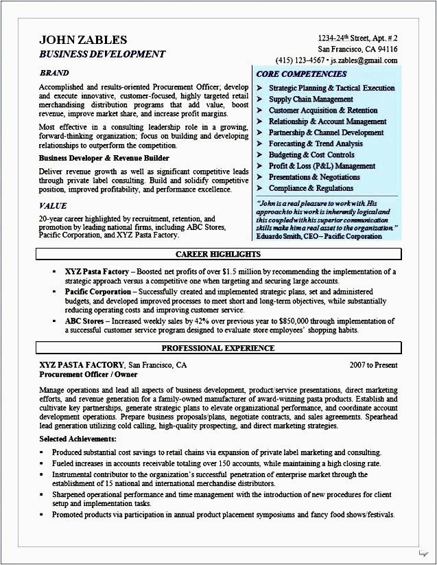 purchase executive resume