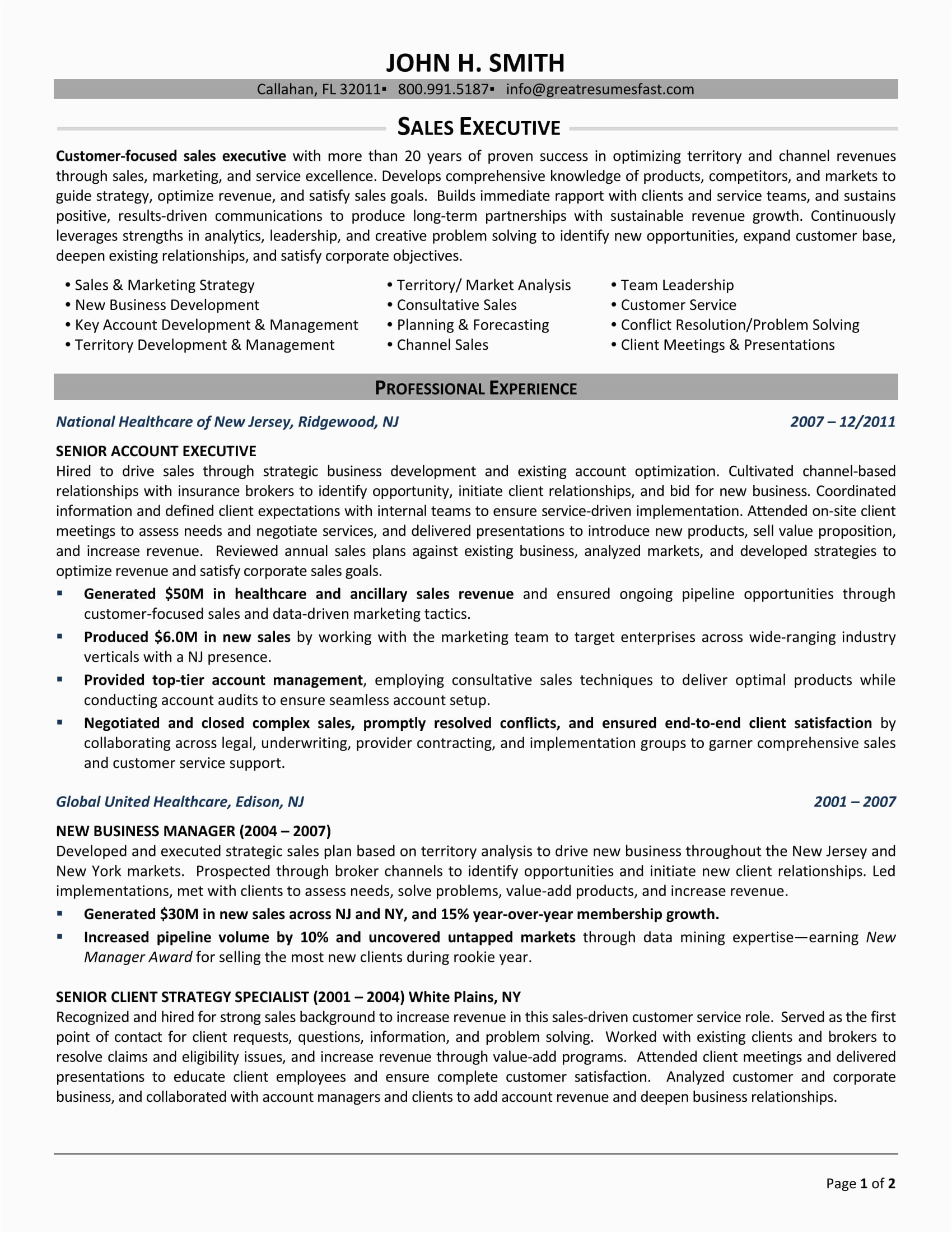 Sample Resume format for Sales Executive 24 Best Sample Executive Resume Templates Wisestep