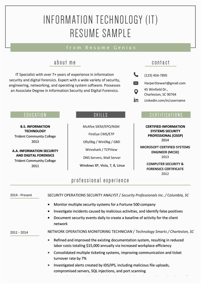 Sample Resume Objective for Information Technology Information Technology It Resume Sample
