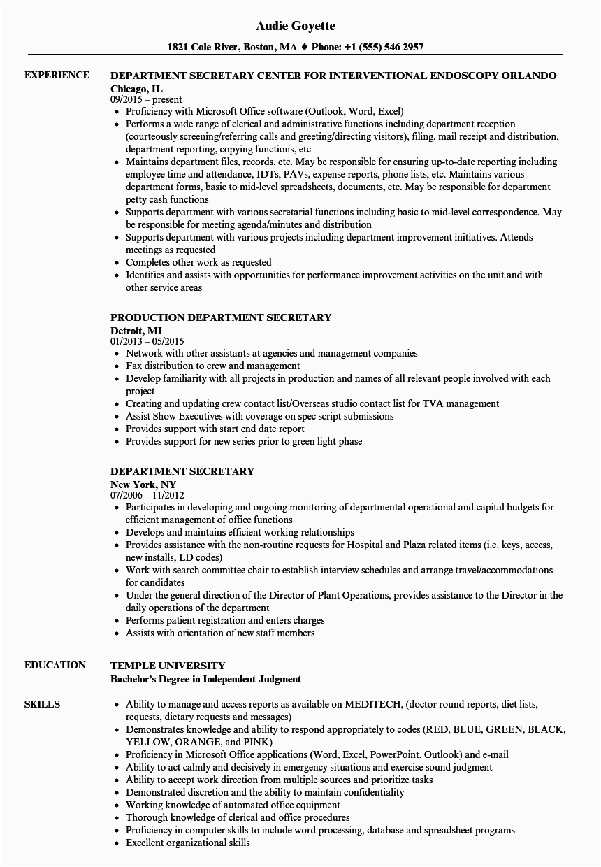 sample resume for secretary
