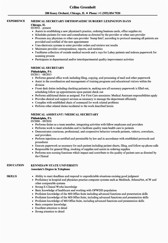 secretary job description resume sample
