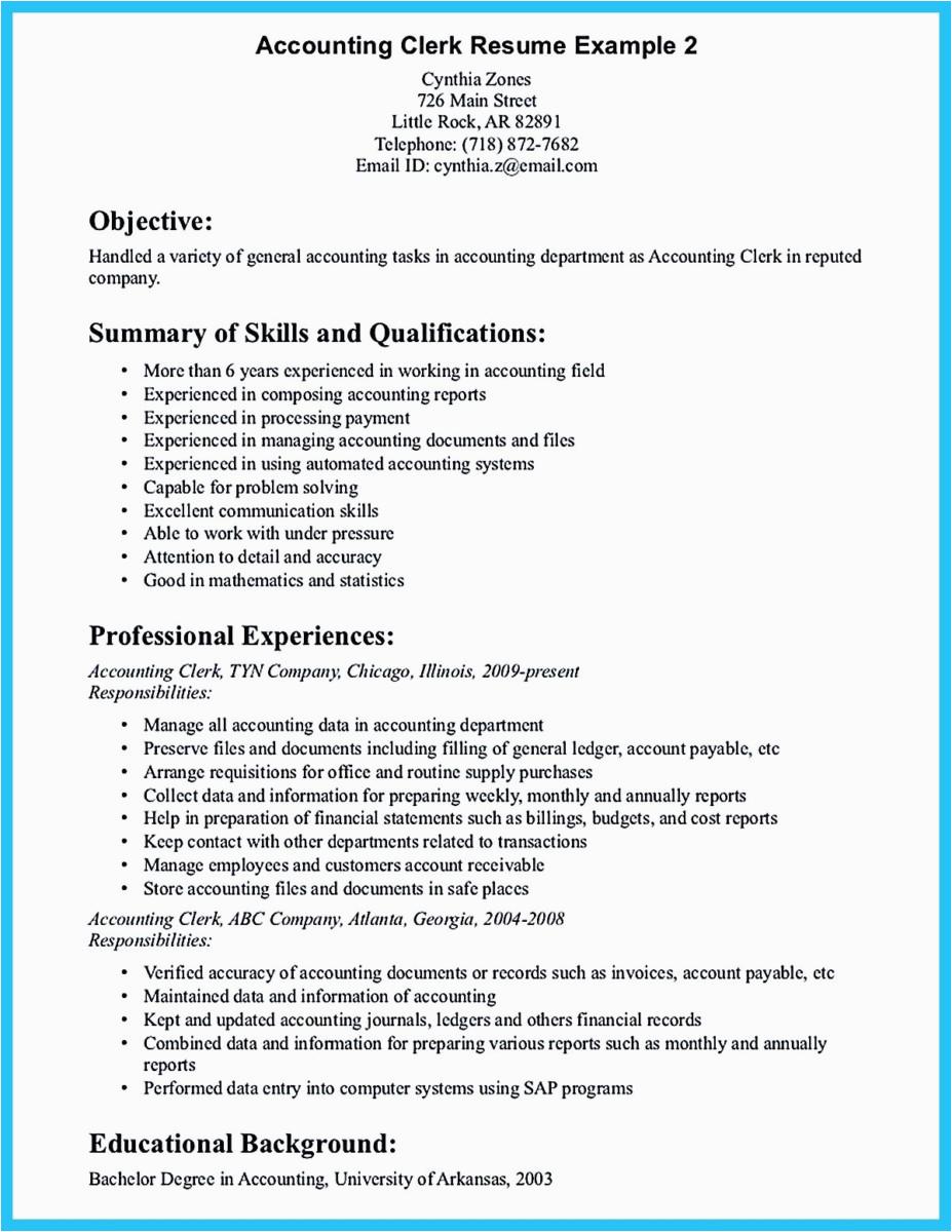 sample writing accounting resume