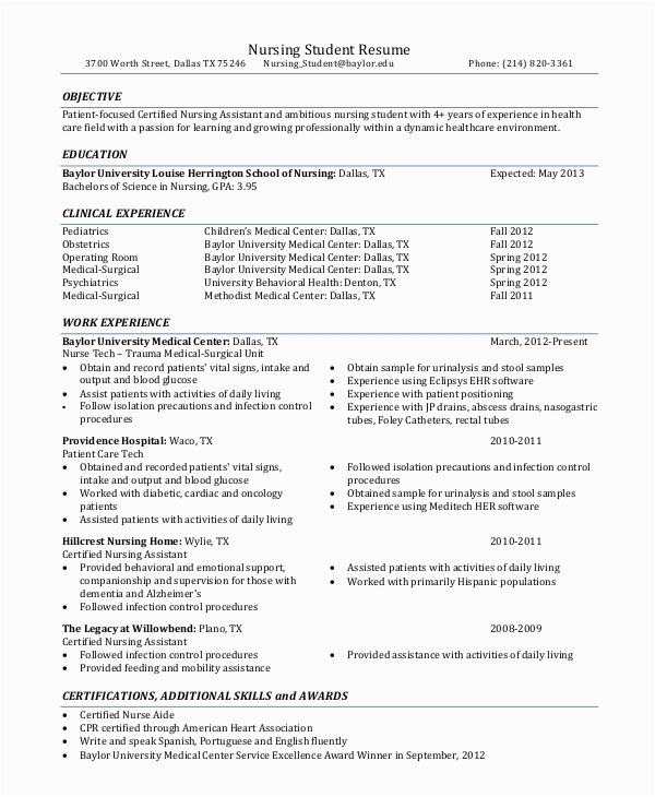 Sample Resume Objectives for Nursing Student Free 8 Resume Objective Samples In Pdf