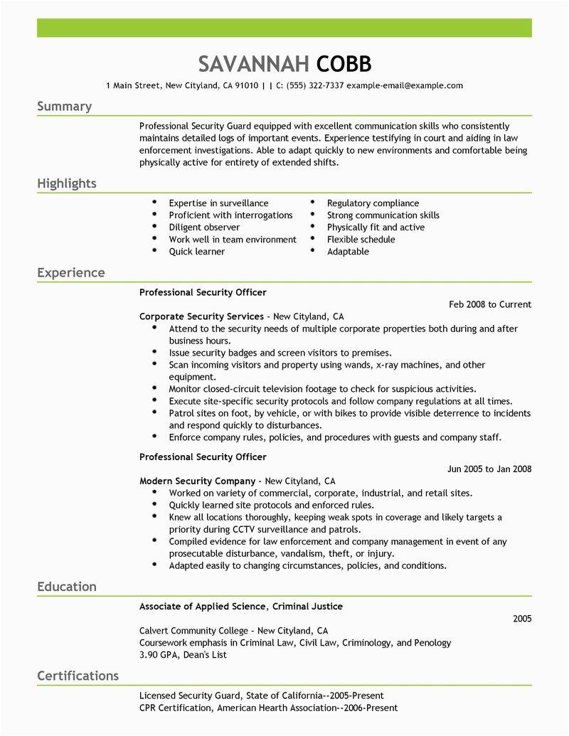 security guard resume sample